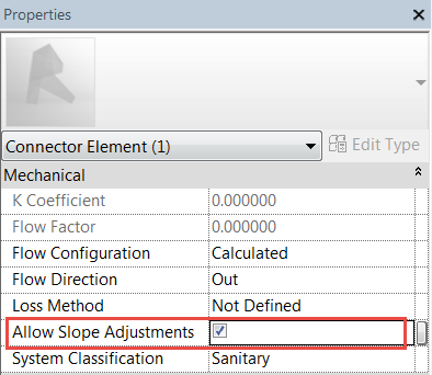 Allow Slope Adjustments in Revit MEP