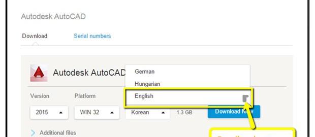 AutoCAD 2016 language selection